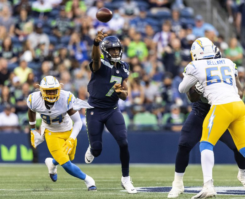 Geno Smith got the start for the Seahawks at quarterback Saturday in the preseason finale against the Chargers. (Dean Rutz / The Seattle Times)