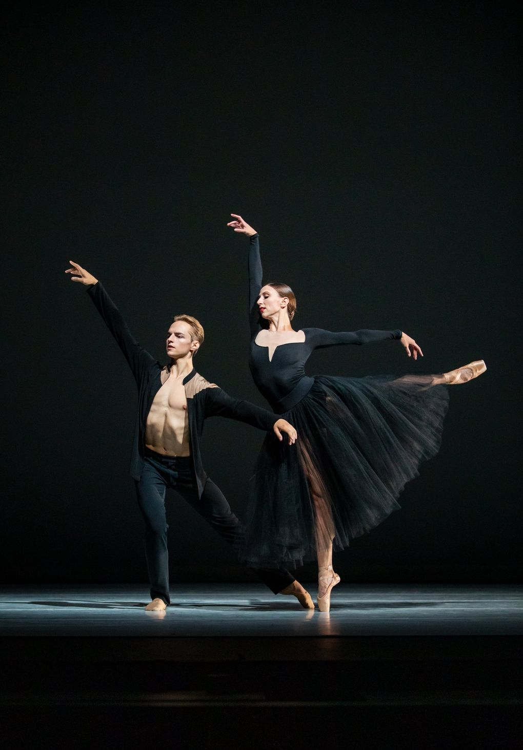 """Pacific Northwest Ballet principal dancer Dylan Wald, left, and soloist Elle Macy in Jessica Lang's """"Ghost Variations,"""" which PNB will be presenting in a triple bill along with works by Ulysses Dove and Alonzo King Nov. 5-7. (Lindsay Thomas)"""
