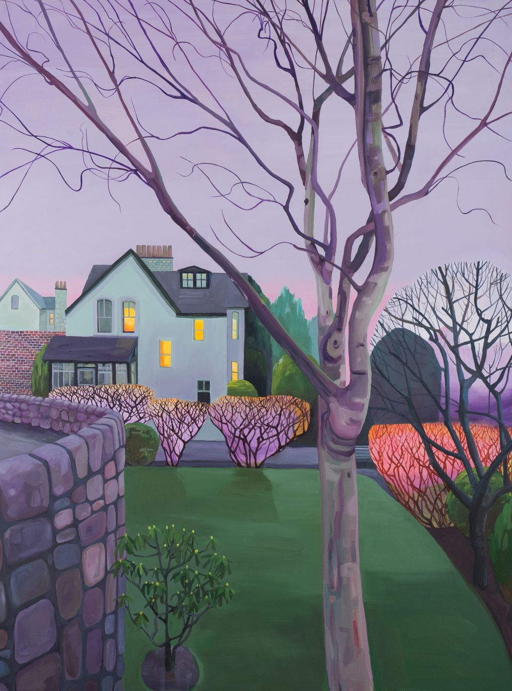 """Rachel Campbell refers to her style as """"abstracted realism,"""" somewhere between abstraction and figuration. The setting of """"Dusk on the Lade Braes II"""" is clear, but the more you look at it, the more you notice hints of abstraction, like the glowing pink and purple auras on the bushes. (Courtesy of ZINC Contemporary)"""