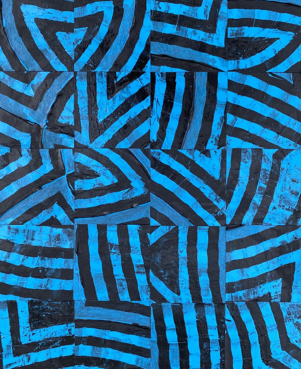 """Jazz Brown's """"Blue Check"""" embodies the highly graphic quality of the artist's new show, """"Intimacy Aware,"""" at J. Rinehart Gallery. (Courtesy of J. Rinehart Gallery)"""