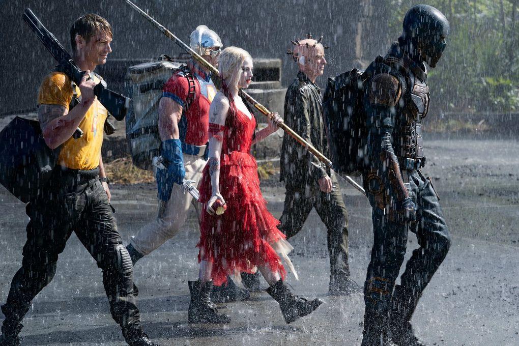 """The Suicide Squad"" includes, from left, Joel Kinneman, John Cena, Margot Robbbie, Sean Gunn and Idris Elba. (Warner Bros.)"