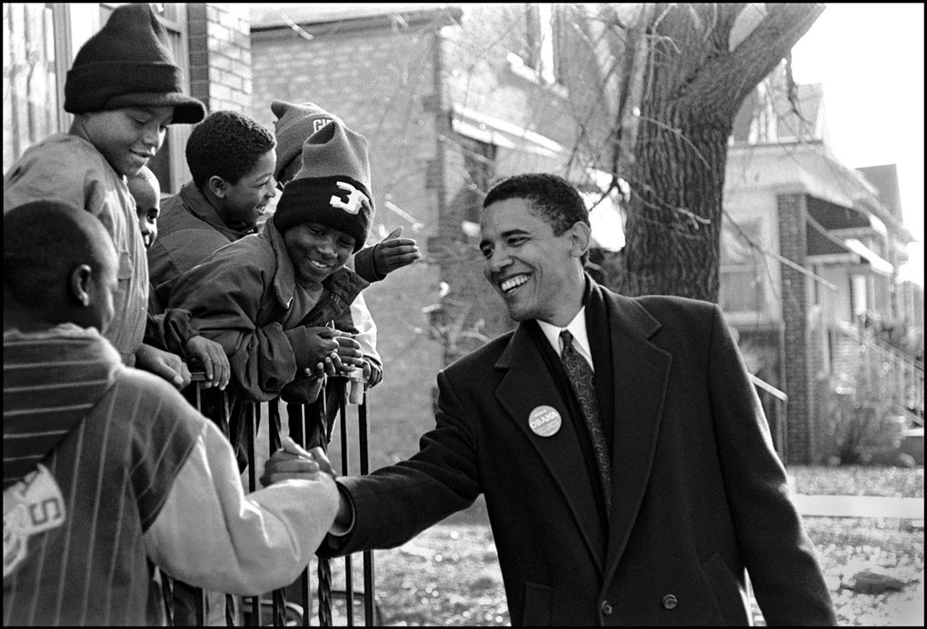 """""""Obama: In Pursuit of a More Perfect Union,"""" which follows the life of the 44th U.S. president, shows Barack Obama campaigning for the Illinois State Senate. (Marc PoKempner / Courtesy of HBO)"""