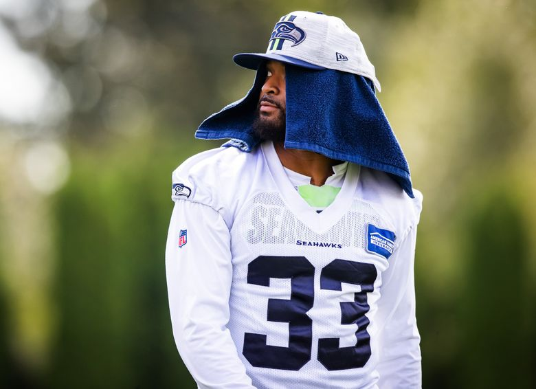 Seahawks strong safety Jamal Adams walks off the field after Seahawks Training Camp at the Virginia Mason Athletic Center in Renton, Aug. 6, 2021. (Bettina Hansen / The Seattle Times)