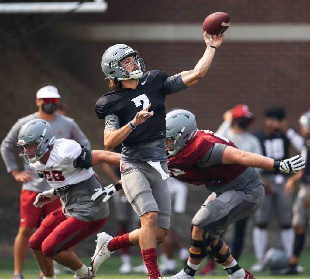 Washington State quarterback Cooper Cammon (2) practices, Aug. 12, 2021 at Rogers Field on the WSU campus in Pullman. (Dean Rutz / The Seattle Times)
