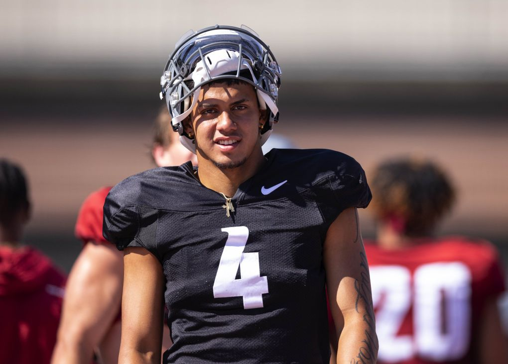 Washington State quarterback Jayden de Laura (4) practices, Aug. 11, 2021 at Rogers Field on the WSU campus in Pullman, WA. (Dean Rutz / The Seattle Times)