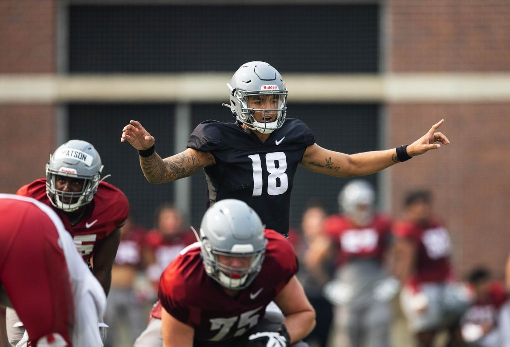Washington State quarterback Jarrett Guarantano (18) practices, Aug. 12, 2021 at Rogers Field on the WSU campus in Pullman. (Dean Rutz / The Seattle Times)
