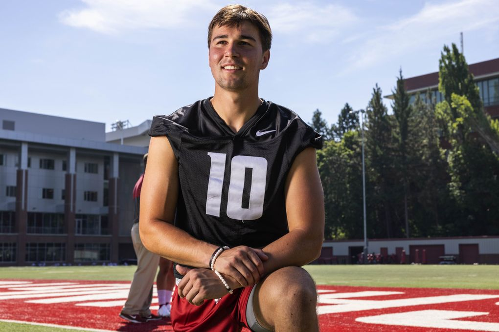 Washington State quarterback Victor Gabalis (10) is pictured at practice, Aug. 11, 2021 at Rogers Field on the WSU campus in Pullman. (Dean Rutz / The Seattle Times)