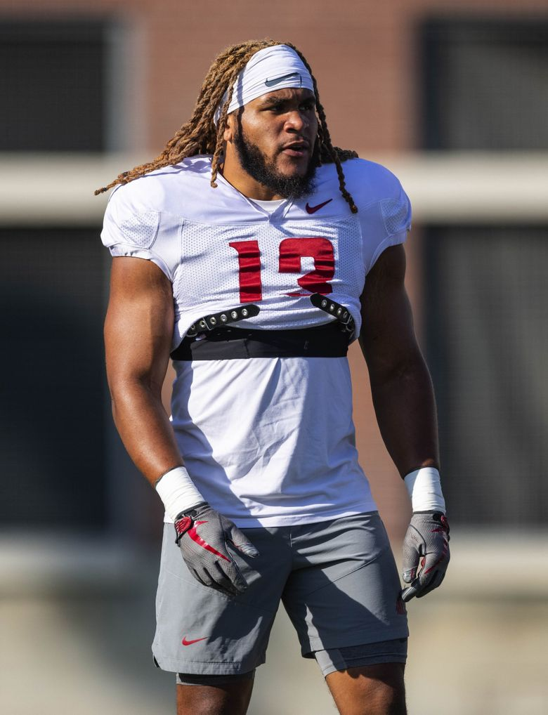 Washington State linebacker Jahad Woods at practice, Aug. 11, in Pullman. (Dean Rutz / The Seattle Times)