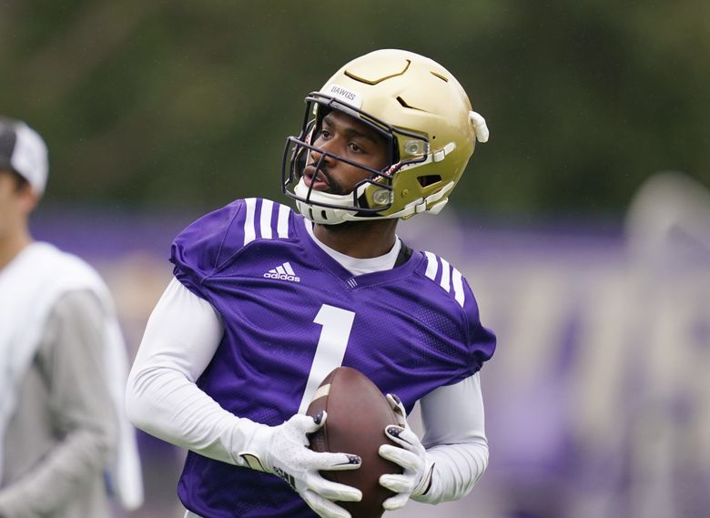 Washington wide receiver Terrell Bynum in action during an NCAA college football team practice Friday, Aug. 6, 2021, in Seattle. (Elaine Thompson / AP)