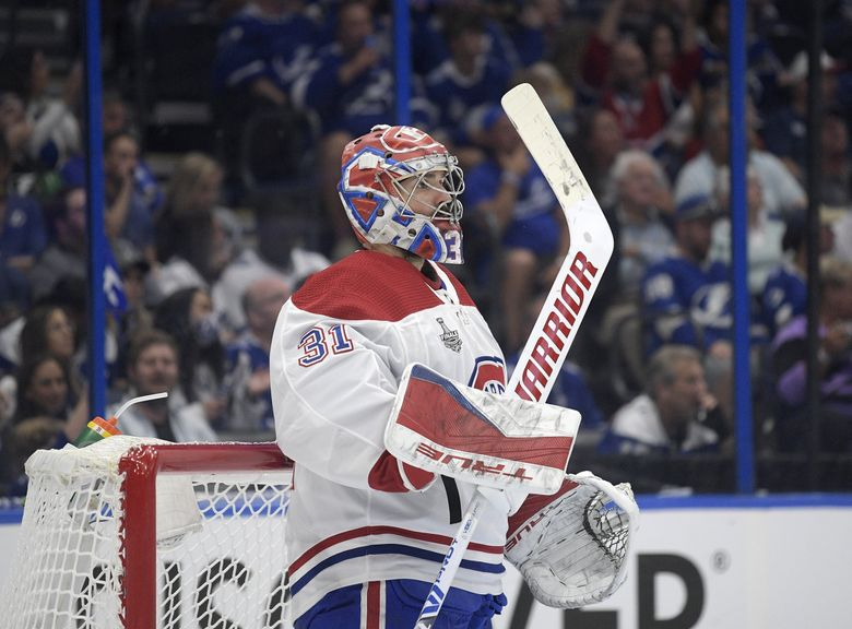 Montreal Canadiens goaltender Carey Price (31) stands in the crease during the second period of Game 5 of the Stanley Cup Final against the Tampa Bay Lightning, Wednesday, July 7, 2021, in Tampa, Fla. (Phelan M. Ebenhack / The Associated Press)