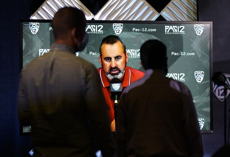 Washington State head coach Nick Rolovich answers question via video conference during the Pac-12 Conference NCAA college football Media Day Tuesday, July 27, 2021, in Los Angeles. (Marcio Jose Sanchez / The Associated Press)