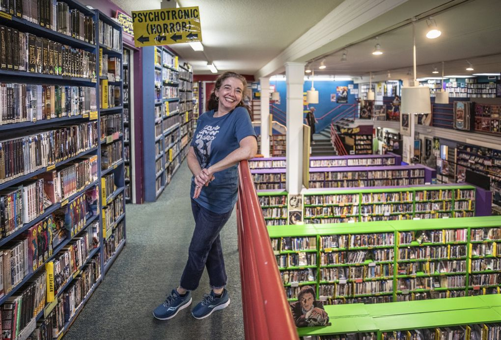 Kate Barr, executive director of Scarecrow Video, is guiding Seattle's last remaining video store — now a nonprofit — in creating a national rent-by-mail service. (Steve Ringman / The Seattle Times)