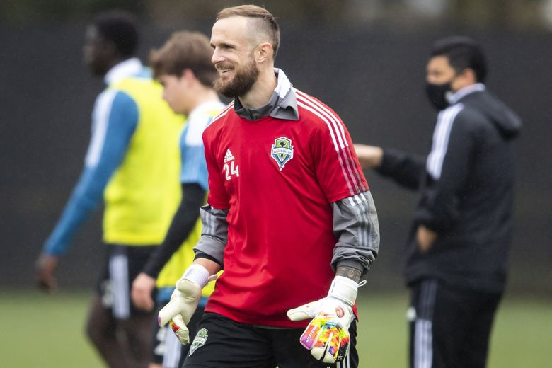 Veteran goalkeeper Stefan Frei is all smiles at the Seattle Sounders FC training facility Starfire Sports in Tukwila, March 20, 2021. (Bettina Hansen / The Seattle Times)