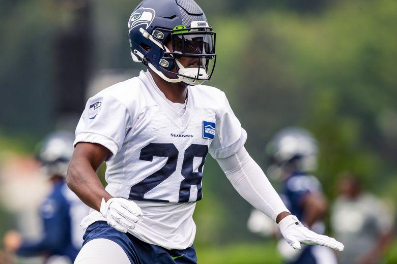 Seahawks cornerback Ugo Amadi works out during Seahawks Training Camp at the Virginia Mason Athletic Center in Renton, July 31. (Bettina Hansen / The Seattle Times)