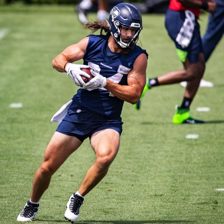 Seahawks tight end Colby Parkinson pulls in a catch as the Seattle Seahawks hold Organized Team Activities Thursday June 10, 2021 at the Virginia Mason Athletic Center in Renton. (Bettina Hansen / The Seattle Times)