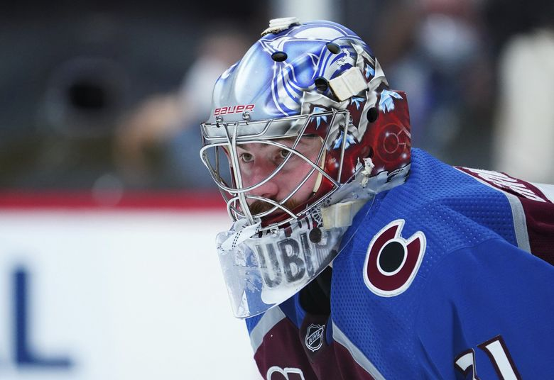 Colorado Avalanche goaltender Philipp Grubauer (31) looks on against the Vegas Golden Knights in the third period of Game 1 of a second-round playoff series May 30, 2021. (Jack Dempsey / AP)