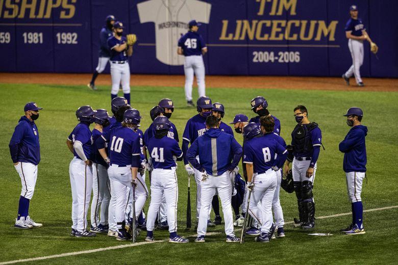 Washington's baseball team gets ready to take on Seattle U last season. (Dean Rutz / The Seattle Times)