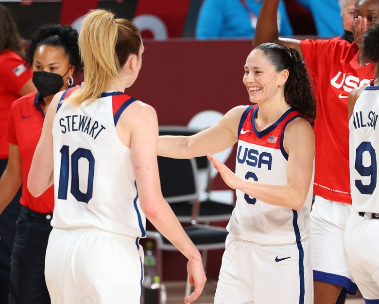 Sue Bird reacts alongside Breanna Stewart of Team USA during the women's gold medal match between the United States and Japan at the Tokyo 2020 Olympic Games in Saitama, Japan, Aug. 8, 2021. (Abbie Parr / Getty Images)