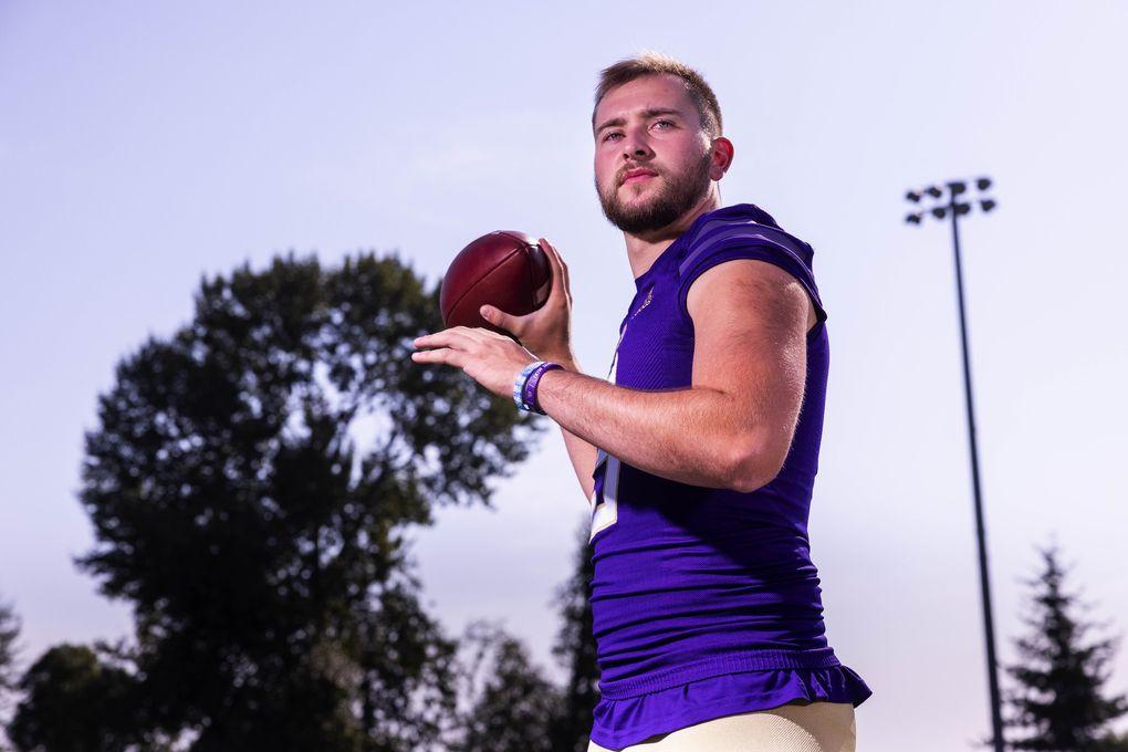 Washington quarterback Dylan Morris. (Dean Rutz / The Seattle Times)