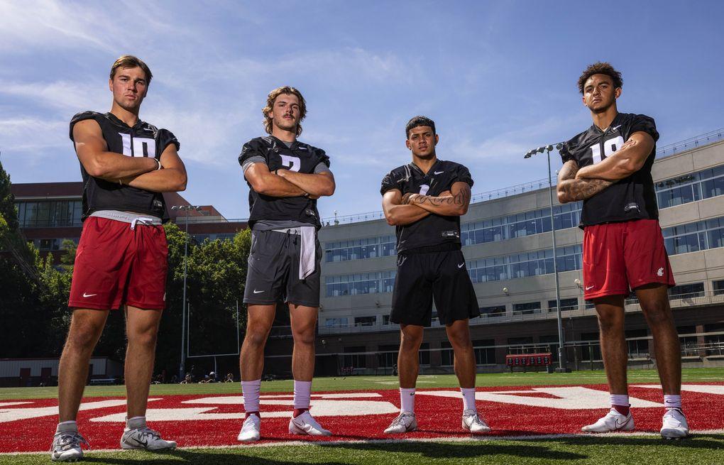 Washington State's quarterback brigade, from leftt: Victor Gabalis (10), Cammon Cooper (2), Jayden de Laura (4), and Jarrett Guarantano (18) at Rogers Field in Pullman. (Dean Rutz / The Seattle Times)
