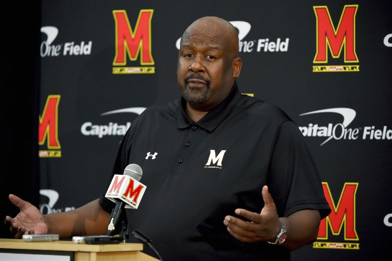 FILE – In this Aug. 2, 2019, file photo, Maryland head coach Mike Locksley addresses the media during a news conference before NCAA college football practice, in College Park, Md. Locksley launched the National Coalition for Minority Football Coaches a little more than a year ago, during a tumultuous summer of racial reckoning in the United States. The timing wasn't part of Locksley's plan. Long before the death of George Floyd sparked protests across the country, the veteran coach had envisioned an organization that could address a problem that has plagued college football for decades: A dearth of Black and other minority head coaches.(AP Photo/Will Newton, File)