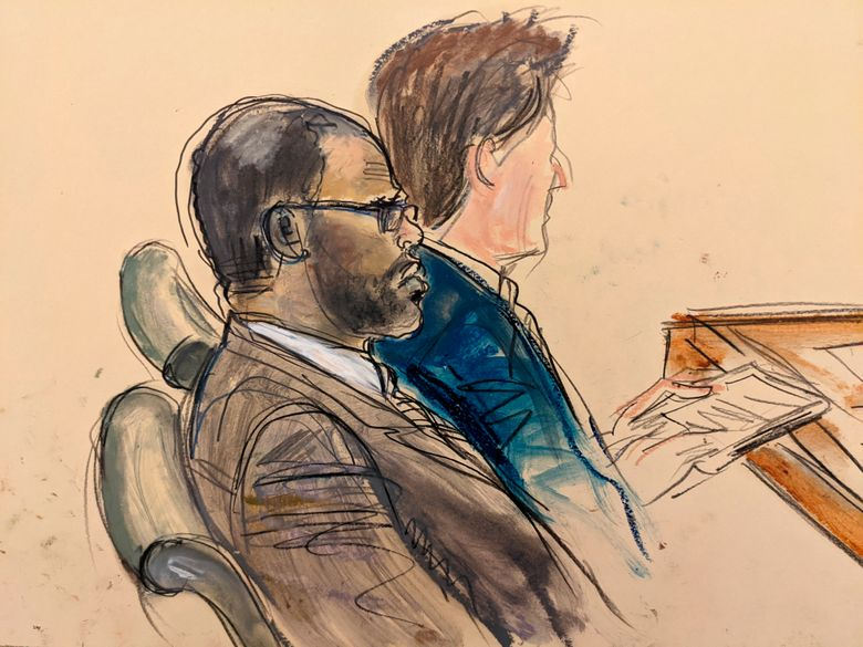 """In this courtroom artist's sketch made from a video screen monitor of a Brooklyn courtroom, defendant R. Kelly, left, listens during the opening day of his trial, Wednesday, Aug. 18, 2021 in New York. The prosecutor described sex abuse claims against Kelly, saying the long-anticipated trial now underway was """"about a predator"""" who used his fame to entice girls, boys and young women before dominating and controlling them physically, sexually and psychologically. (AP Photo/Elizabeth Williams)"""