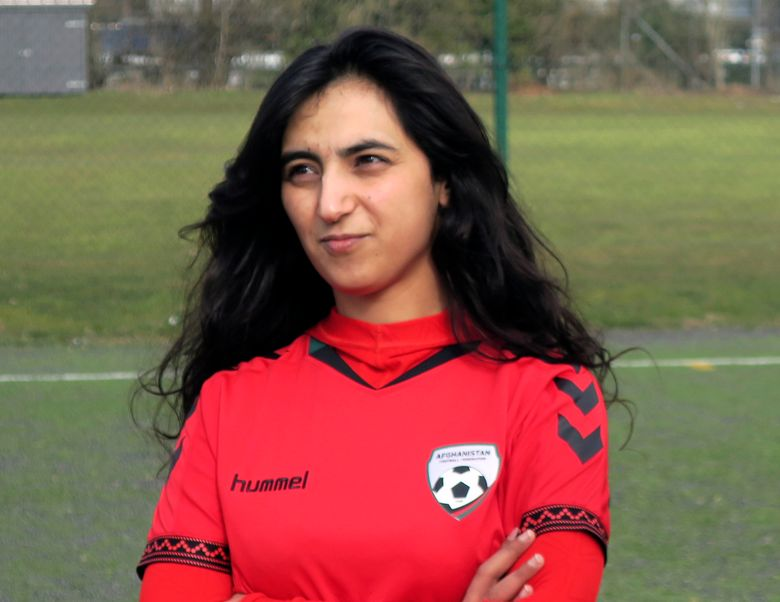 FILE – This Tuesday, March 8, 2016 file photo shows Khalida Popal, the former Afghanistan national women's team captain, in Copenhagen. The footballers in the Afghanistan women's team Popal helped to establish now fear for their lives after the Taliban swept to regain control of the country after two decades. (AP Photos/Jan M. Olsen, File)