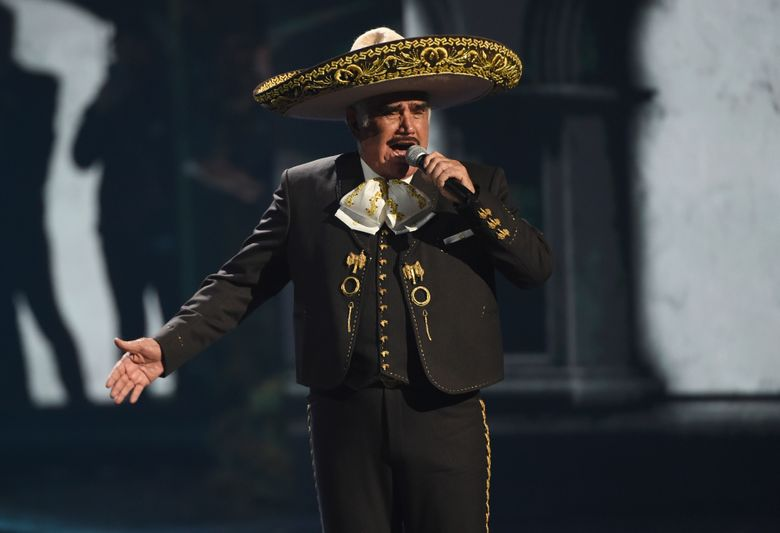 FILE – Vicente Fernandez performs a medley at the 20th Latin Grammy Awards on Nov. 14, 2019, in Las Vegas. The 81-year-old king of ranchera music is in critical but stable condition after being hospitalized for a fall last week, according to an Instagram post made by his medical team on Wednesday, Aug. 11, 2021. (AP Photo/Chris Pizzello, File)
