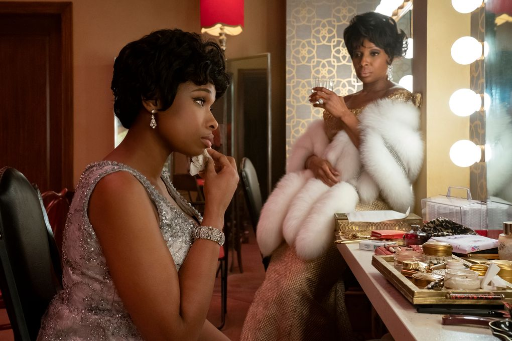 """Jennifer Hudson, left, as Aretha Franklin and Mary J. Blige as Dinah Washington in """"Respect."""" (Quantrell D. Colbert / MGM)"""