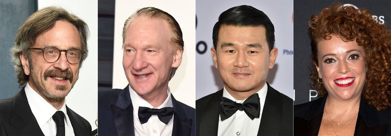 This combination photo shows comedians, from left, Marc Maron, Bill Maher, Ronny Chieng and Michelle Wolf, who will headline this year's New York Comedy Festival. The festival runs from Nov. 8 – 14. Over 200 comedians, late-night hosts and podcast stars will perform in more than 100 shows at places like the Beacon Theatre, Carnegie Hall, Town Hall, Carolines on Broadway and the Hulu Theater at Madison Square Garden. (AP Photo)