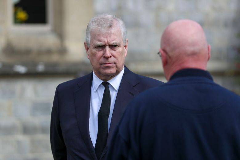 FILE – Britain's Prince Andrew attends the Sunday service at the Royal Chapel of All Saints at Royal Lodge, Windsor, following the death announcement of his father, Prince Philip, in England, Sunday, April 11, 2021. Longtime Jeffrey Epstein accuser Virginia Giuffre sued Prince Andrew on Monday, Aug. 9, 2021, saying he sexually assaulted her when she was 17. Lawyers for Giuffre filed the lawsuit in Manhattan federal court. (Steve Parsons/Pool Photo via AP, File)