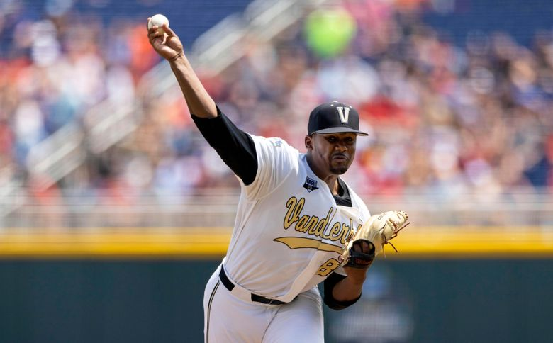 FILE – In this Friday, June 25, 2021, file photo, Vanderbilt starting pitcher Kumar Rocker (80) throws against North Carolina State in the first inning of a baseball game at the College World Series, at TD Ameritrade Park in Omaha, Neb. The New York Mets failed to sign Rocker, their top pick from the 2021 amateur draft, by the 5 p.m. EDT deadline, Sunday, Aug. 1, 2021, over concern about his medical scans. (AP Photo/Rebecca S. Gratz, File)