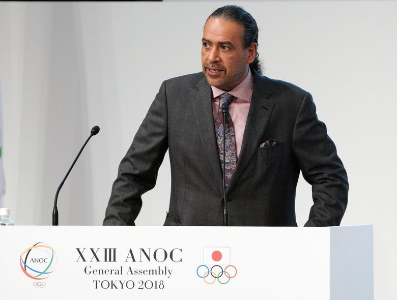FILE – In this Wednesday, Nov. 28, 2018 file photo, Sheikh Ahmad al Fahad al Sabah, president of the Association of National Olympic Committees (ANOC) delivers a speech during the ANOC general assembly in Tokyo. The trial opened Monday, Aug, 30, 2021 of an influential Olympic official accused of forgery in an alleged plot that implicated political rivals in Kuwait in a coup attempt. Sheikh Ahmad al-Fahad al-Sabah has been publicly sidelined as an IOC member and president of the global group of national Olympic bodies by the pending case. (AP Photo/Eugene Hoshiko, file)