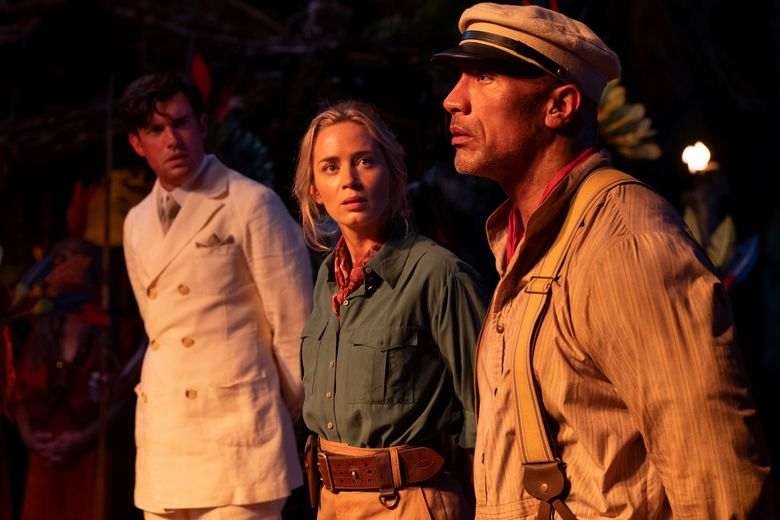 """""""Jungle Cruise"""" includes, from left, Jack Whitehall, Emily Blunt and Dwayne Johnson. (Disney)"""