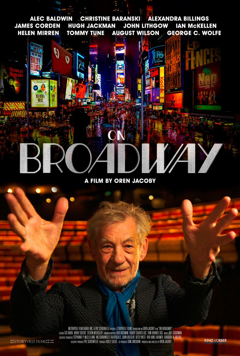 """This image released by Kino Lorber shows promotional art for the documentary """"On Broadway,"""" a new documentary celebrating the Great White Way. (Kino Lorber via AP)"""