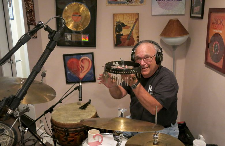 This image provided by Dave Pomeroy shows drummer Kenny Malone in April 2018 in Nashville, Tenn. Malone, who was prolific session player who played on hits for Dolly Parton, Waylon Jennings, Dobie Gray, Ronnie Milsap and Crystal Gayle, has died. He was 83.Malone's friend and bandmate Dave Pomeroy said he died Thursday, Aug. 26, 2021, after being diagnosed with COVID-19. (Dave Pomeroy via AP)