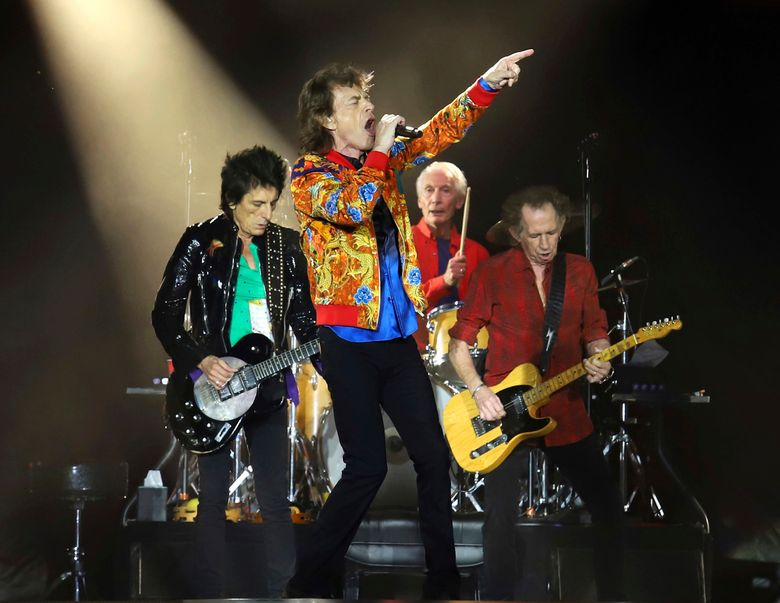 """FILE – In this Aug. 5, 2019 file photo, Ronnie Wood, from left, Mick Jagger, Charlie Watts and Keith Richards of The Rolling Stones perform in East Rutherford, N.J. The Rolling Stones are celebrating the 40th anniversary of their album """"Tattoo You"""" with a remastered collection that includes nine previously unreleased tracks. The newly-remastered 11-track album is out on Oct. 22. (Photo by Greg Allen/Invision/AP, File)"""