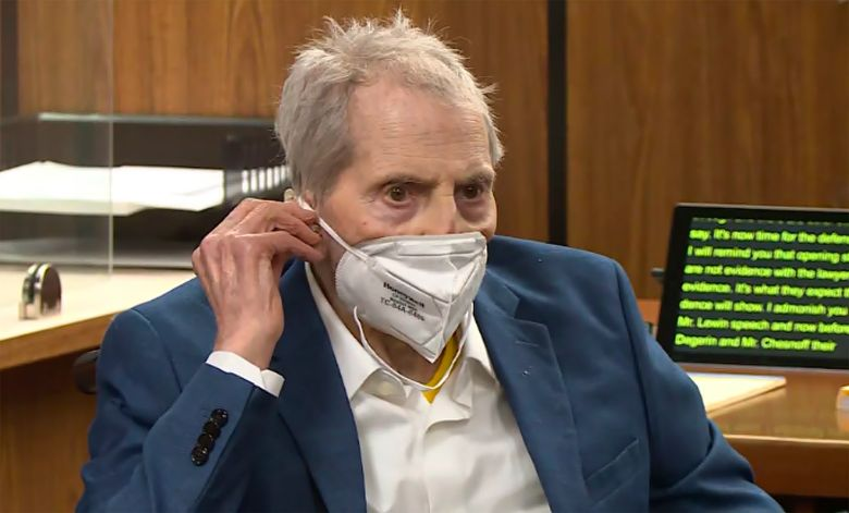 FILE – In this still image taken Wednesday, May 19, 2021, from the Law & Crime Network court video, real estate heir Robert Durst watches as his defense attorney Dick DeGuerin presents a new round of opening statements in the murder case against Durst in Los Angeles County Superior Court in Inglewood, Calif. Durst is expected to take the stand at his Los Angeles County murder trial on Thursday, Aug. 5. (Law & Crime Network via AP, Pool, File)