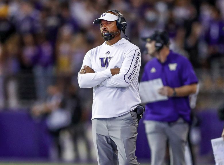 Washington Huskies head coach Jimmy Lake reacts on the sidelines as time runs during the fourth quarter against the Montana Grizzlies Saturday, Sept. 4, 2021, in Seattle, Wash. (Jennifer Buchanan / The Seattle Times)
