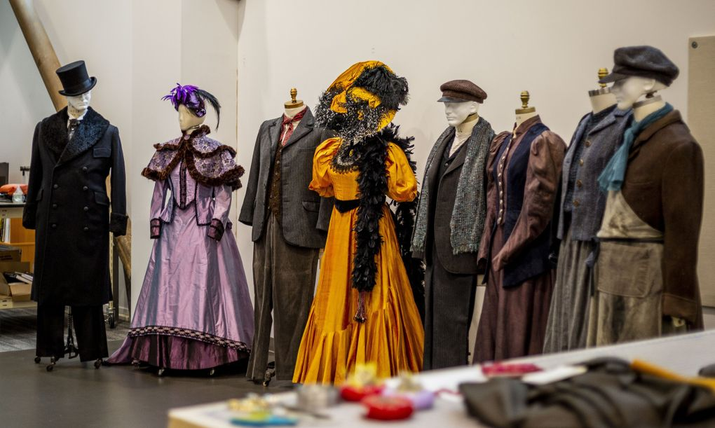 """Costumes for """"La Boheme"""" sit on dress forms at Seattle Opera's Opera Center. The company's """"La Bohème"""" this October will feature 41 cast members — up from the typical number of cast members in last season's filmed productions but down from the 99 originally planned for in 2020. (Sylvia Jarrus / The Seattle Times)"""