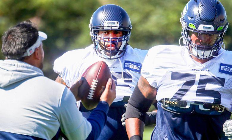 Left tackle Duane Brown runs drills during Seahawks practice, Wednesday, Sept. 8, 2021 in Renton. (Ken Lambert / The Seattle Times)