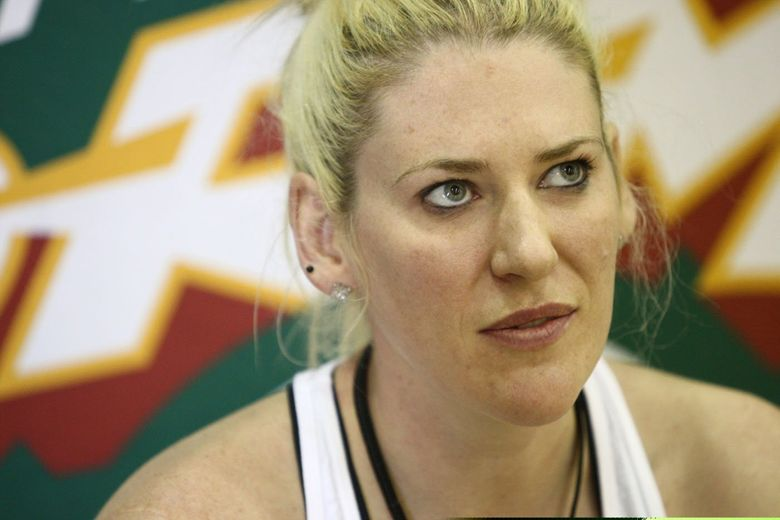 Lauren Jackson speaks to members of the media in 2011 after a Storm practice at Seattle Pacific University. (John Lok / The Seattle Times)