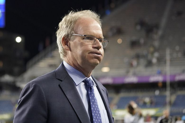 Brian Schmetzer, Seattle Sounders head coach, purses his lips as he walks off the pitch after a 2-0 loss to the Portland Timbers, Aug. 29, 2021, in Seattle. (Ted S. Warren / AP)