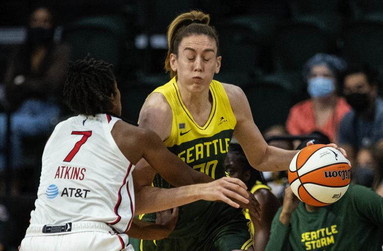 Breanna Stewart reacts to a hard foul during a game against the Washington Mystics, Sep. 7, 2021 in Everett. (Dean Rutz / The Seattle Times)