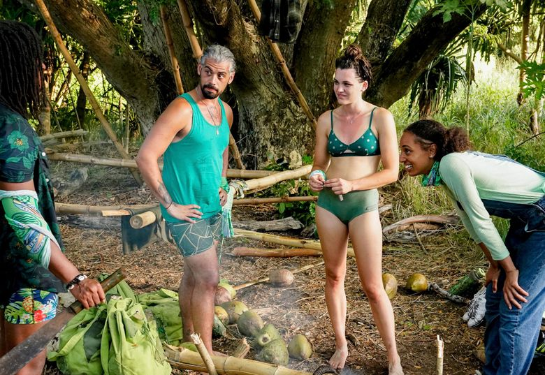 """Ricard Foyé (second from left), of Sedro-Woolley, with fellow castmates on an episode of """"Survivor,"""" season 41. (Robert Voets / CBS)"""
