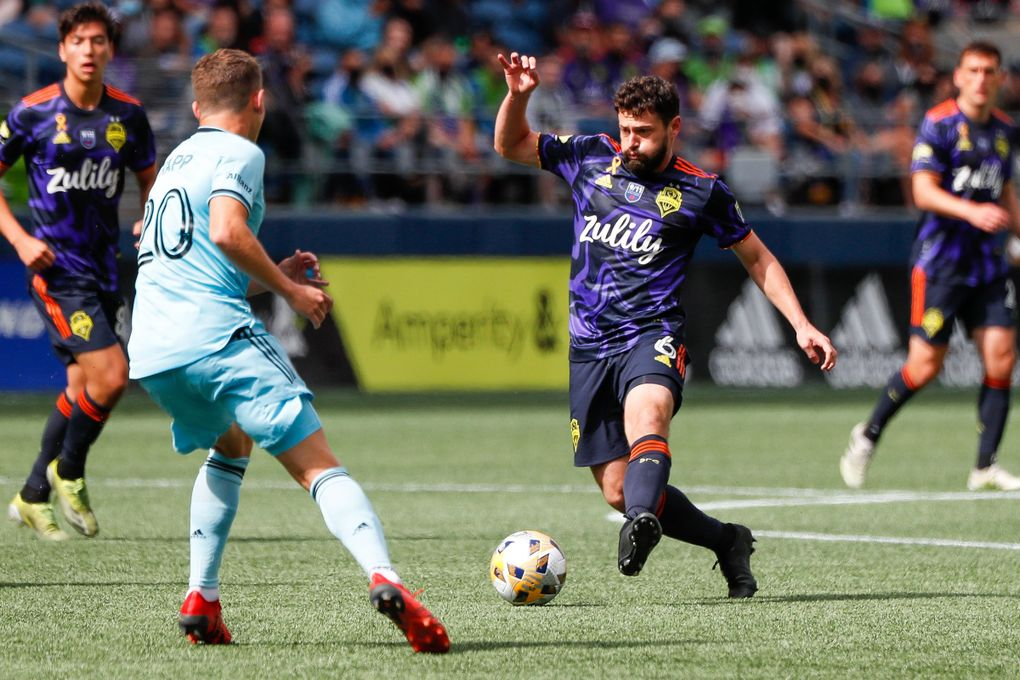 Joao Paulo controls the ball against Minnesota United FC during the first half, Sept. 11, 2021, in Seattle. (Jennifer Buchanan / The Seattle Times)