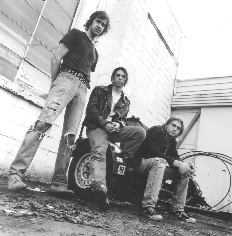 """Nirvana's Krist Novoselic, Dave Grohl and Kurt Cobain in 1991, the year the band's landmark """"Nevermind"""" was released. (Chris Cuffaro / The Associated Press)"""