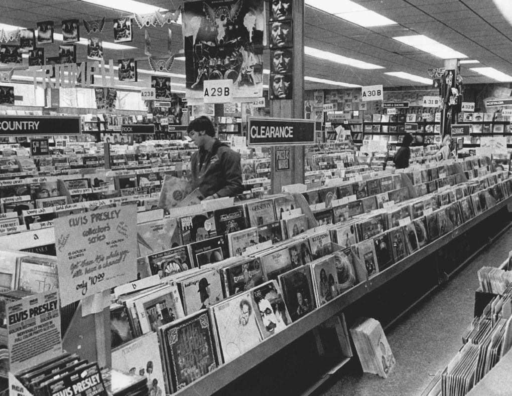"""It was in the parking lot of the Tower Records store on Mercer Street, shown here in 1978, where writer Charles Cross first heard """"Nevermind"""" in 1991. A QFC is now in that location. (Peter Liddell / The Seattle Times)"""