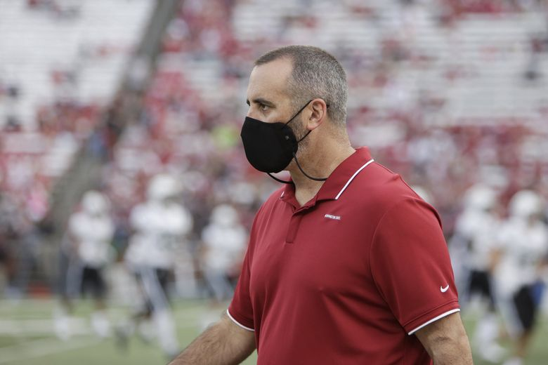 Washington State head coach Nick Rolovich,  during the Portland State game on Saturday in Pullman. (Young Kwak / The Associated Press)