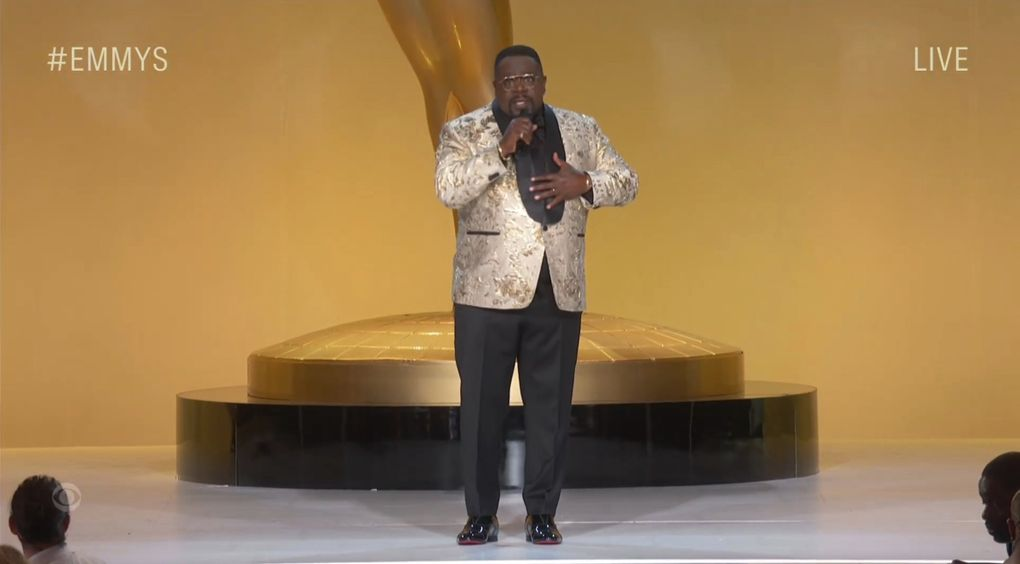 Cedric the Entertainer speaks Sunday, Sept. 19, 2021, during the Primetime Emmy Awards. (Television Academy via  The Associated Press)